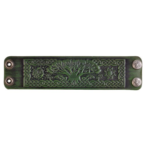 Leather Bracelet Embossed Celtic Tree of Life Antique-green with Snap Fasteners (Nickel Free) (19 Centimeters)
