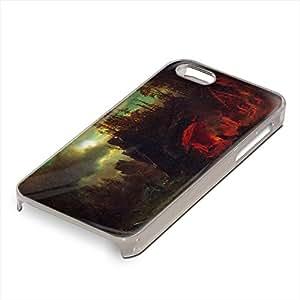 Bierstadt - Trapper S Camp, Custom Claro PC Ultradelgado Caso Duro Carcasa Funda Protección Tapa Hard Case Cover Shell con Diseño Colorido para Apple iPhone 5 5S.