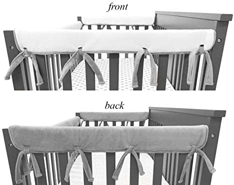 Wide for Rails Measuring up to 18 Around Gray//White American Baby Company 2 Pack Heavenly Soft Chenille Reversible Crib Rail Cover for Side Rails