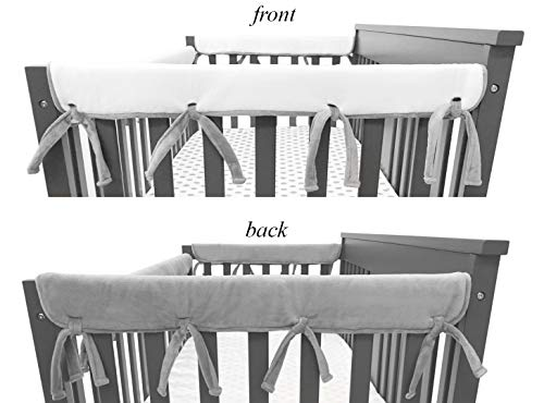(American Baby Company 2 Pack Heavenly Soft Chenille Reversible Crib Rail Cover for Side Rails, Gray/White, Narrow for Rails Measuring up to 8