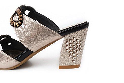 Agoolar Materials Aperti E Tacco Sandali Fiocco In Oro Women's Con Blend rTgCrq