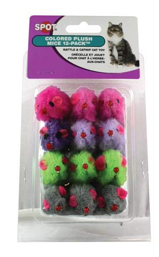 Ethical Colored Plush Mice with Catnip Cat Toy, 12-Pack ()