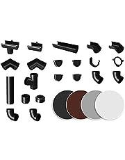 RAINWAY S regengoten systeem (buis 67 ° antraciet) - PVC-U kunststof in 4 kleuren, voor dakoppervlakken < 100 m² aanbevolen, aftak buisboog accessoires