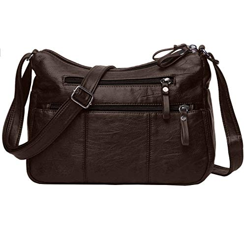 Chocolate Pocket Organizer - Volcanic Rock Women Crossbody Bag Pocketbooks Soft PU Leather Purses and Handbags Multi Pocket Shoulder Bag (Chocolate-11.8
