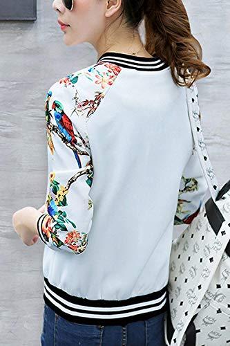 Cute Outerwear Manica Autunno Elegante Stampato Fashion Cappotto Giacca Con Lunga Alla Cerniera Slim Baseball Moda Bianca Giaccone Primaverile Donna Chic Fit Casuali PAfqCxRw