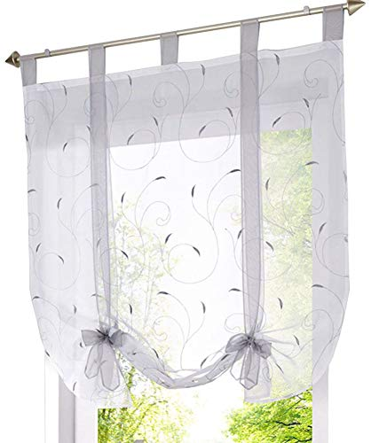 (ZebraSmile Adorable Tie Up Tab Top Semi Sheer Kitchen Balloon Window Curtain Roman Curtain Lifable Curtain,55 x 55 Inch, Silver Gray )