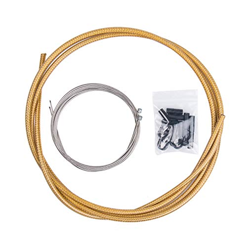 EASTERN POWER Bicycle Shifter Cable & Housing Set, MTB Derailleur Cable, Gold Shift Cable Housing for Mountain Bike Road Bicycle