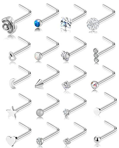Tornito 20G 20Pcs Nose Ring CZ Nose Stud Retainer L Shaped Nose Piercing Jewelry Set Stainless Steel Silver Tone