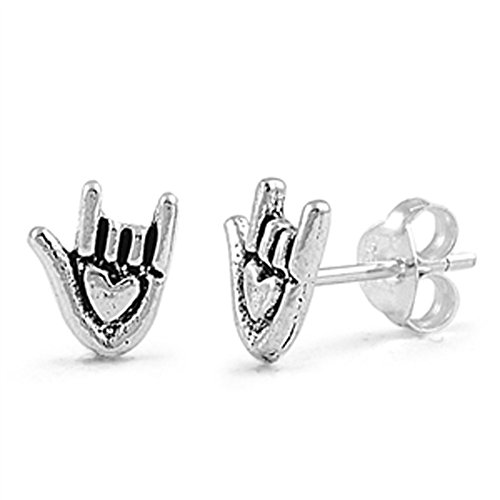 Asl Sign Love - I Love You Hand Sign Language Cute .925 Sterling Silver ASL Promise Heart Stud Earrings