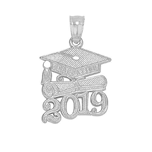 SURANO DESIGN JEWELRY Sterling Silver 2019 Graduation Cap Diploma Charm/Pendant, Made in USA, 18