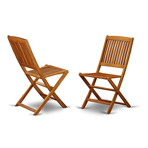 East West Furniture BCMCWNA Solid Acacia Wooden Patio Folding Side Chair -Set of Two ()