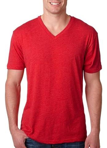 Next Level Men's Tri Blend Ribbed Knit V-Neck T-Shirt, Vintage Red, Large (Next Level Tri Blend V)