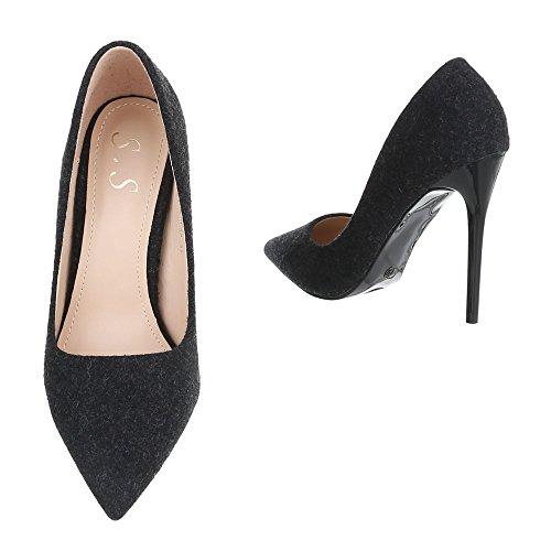 chaussures Noir Ital femme Design compensées 4zqA5Wqn