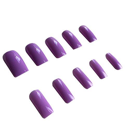 GUGULUZA 500 Pcs Full False Nail Fashion Design Nail Art Tips (Purple) ()