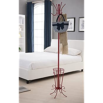 Kings Brand Red Finish Metal Coat Rack & Hat Stand With Umbrella Holder