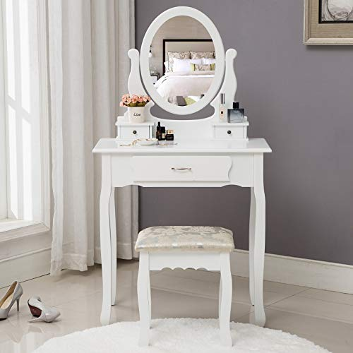 HONBAY Makeup Vanity Table Set, Cushioned Stool and Surprise Gift Makeup Organizer with Oval Mirror, 3 Drawers Dressing Table White (White)