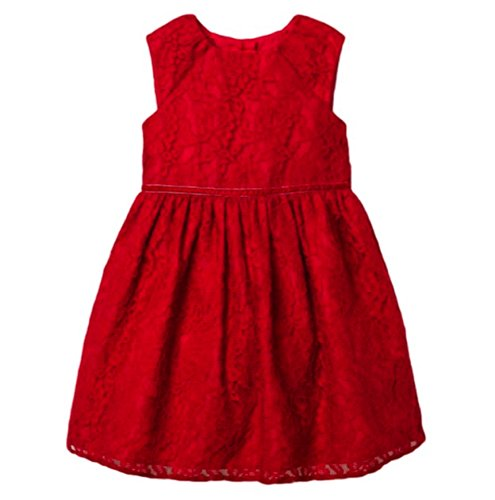 MIA & Mimi Little Girls Fancy Luxe Lace Dress Special Occasion/Princess (4T, Red Pop Lace)