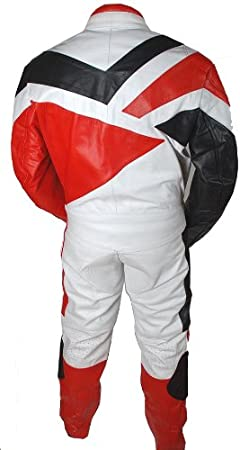 Perrini 2pc Motorcycle Riding Racing Track Suit all Leather w//Padding Drag Suit New Red