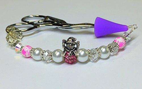 Snowman Beaded Charm (Pink Snowman Scissor Charm Jewelry)