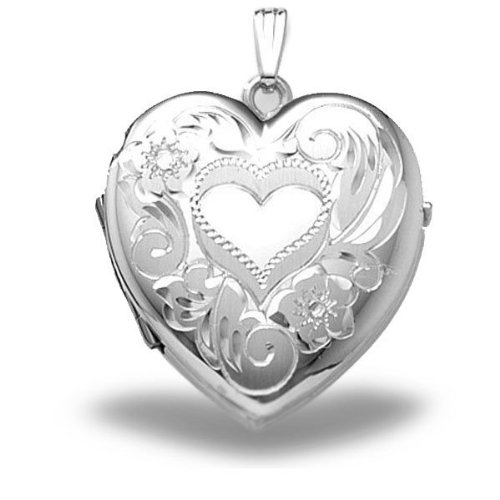 Sterling Silver Heart Four Photo Locket 1-1/4 Inch X 1-1/4 Inch Solid Sterling Silver by PicturesOnGold.com
