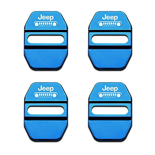 4Pack Stainless Steel Car Door Lock Latches Cover Protector for Jeep Grand Cherokee Wrangler Compass Cherokee Renegade Patriot Grand Comander Decoration,etc All Models-blue (blue, - Striker Door Jeep