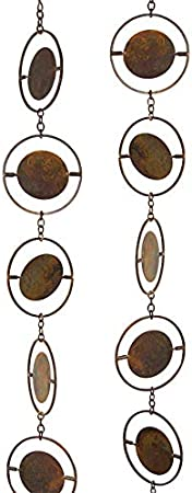 Bestnest Ancient Graffiti Circle Rain Chains Flamed Copper Colored Pack Of 2 2 Garden Outdoor