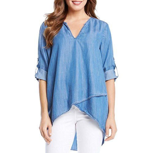 Karen Kane Women's Asymmetrical Hem Wrap Top, Chambray, X-Small