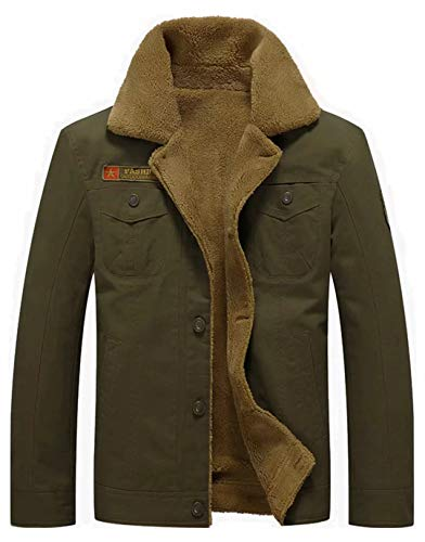 Vcansion Men's Winter Cotton Fleece Windproof Jacket Wool Outerwear Single Breasted Classic Military Style Jacket Coats Army Green M - Mens Wool Military Coat