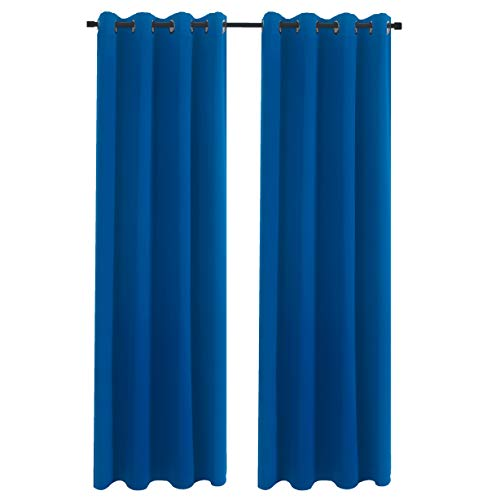 Aquazolax Bedroom Blackout Window Curtain Panels Blackout Curtains Drapes 52x63-inch Solid Window Treatment Drapery for Living Room, 1 Pair, Royal -