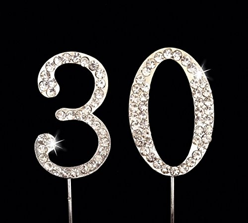 30th Birthday / Wedding Anniversary Number Cake Topper with Sparkling Rhinestone Crystals - 1.75 30th Collection