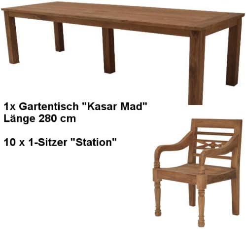 Wohnpalast Rheinland 280-10 - Juego de Muebles de jardín (Madera de Teca): Amazon.es: Jardín