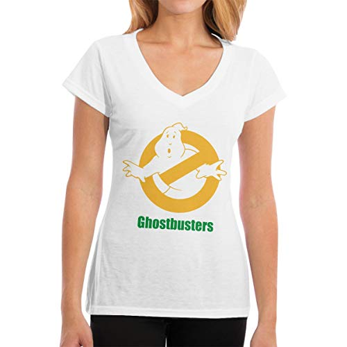 Cheny Ghostbusters Logo WomenV-Neck Cotton T-Shirts Short Sleeve