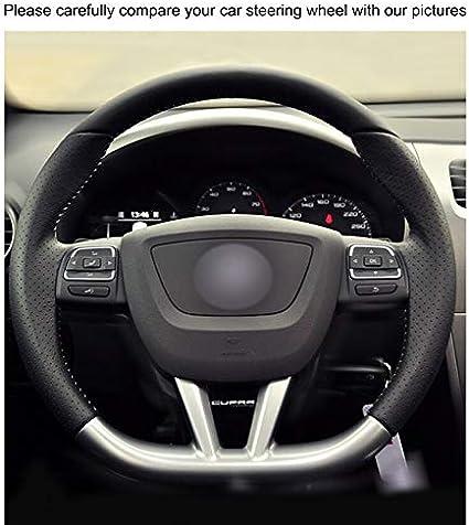 KAIJIFXP Couvre-Volant Noir en Similicuir Noir Cousu /à la Main pour Seat Leon 2009-2012