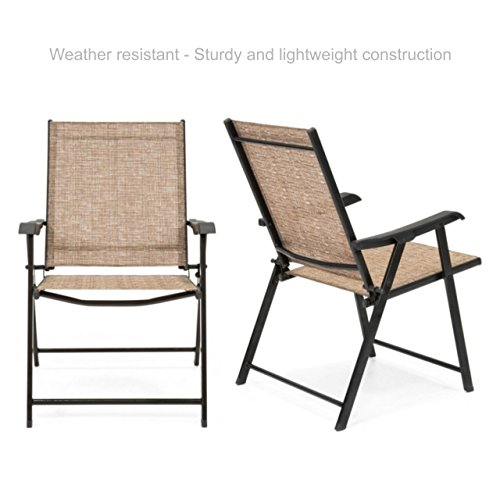 Koonlert@Shop Outdoor Patio Folding Sling Back Chair Sturdy Steel Frame Durable Lightweight Comfortable Breathable Stretchable Mesh Material Patio Porch Garden Furniture - Set of 2 Tan #1780(2) (Chair Frames Toronto)