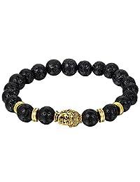 Flongo Men's Vintage Black Lava Rock Tibetan Gold Buddha Mala Beads Buddhist Prayer Link Bracelet, 7.5 inch, Balancing Natural Gemstone Beads for Essential Oil
