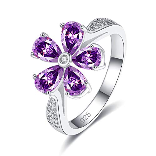 Narica Women's 925 Sterling Silver Filled Pear Cut Amethyst Rings for Girl Teens Size 8 ()