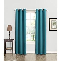 "Sun Zero Becca Energy Efficient Grommet Curtain Panel, 40"" x 84"", Marine Teal"