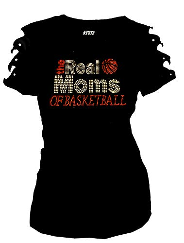 Fashion2ne1 Real Moms Of Basketball Bling Rhinestones T-Shirt Ripped Cut Out Short (1X-Large)