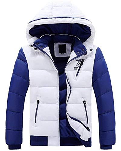 Bianco Giacca Cappotto Uomini Lato Intasca Giù Con Outwear Unico Caldo Cappuccio B1BAxq7
