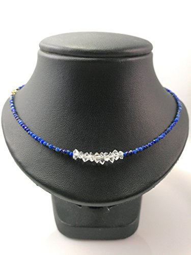 Herkimer Diamond necklace,April Birthstone,Lapis lazuli necklace,Gemstone necklace,Diamond Quartz necklace Strand with 925 Silver clasp - Size 16,18, 20, 22, 24 - Custom size