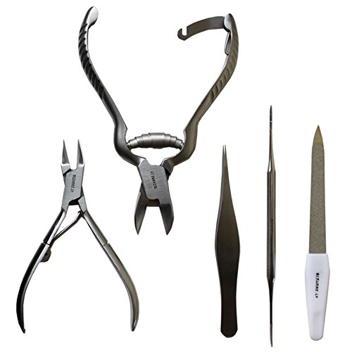 MASSIVE BIZARRE.LY Professional 5 Piece Ingrown TOENAIL KIT - Pedicure Tools to EASILY FIX and PREVENT Sore, Painful Nails - FILE, LIFTER, 2X CLIPPERS, PRECISION TWEEZERS - With PORTABLE LEATHER POUCH by Bizarre.ly (Image #2)