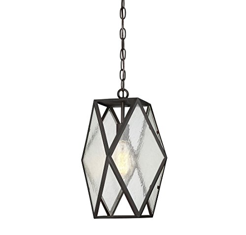 (Trade Winds Lighting TW021153ORB Vintage Hanging Loft Cage Styled Pendant with Seeded Glass, 100 Watts, in Oil Rubbed Bronze)