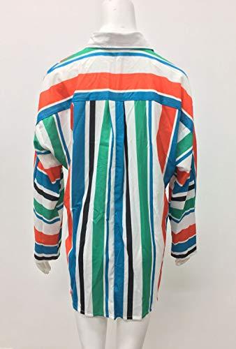 Automne Shirts Couleur Printemps Tops Lache Femmes et Shirts Longues Chemises Gavemenget Fashion Blouse Chemisiers Raye T Revers Manches Hauts Tee HEqAx7xwdM