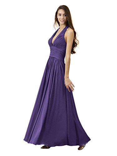 e5d4e2a355d Alicepub Sexy V-Neck Bridesmaid Dresses Halter Chiffon Evening Party Prom  Gown Maxi