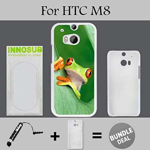 Nice Rain Forest Frog Custom HTC ONE M8 Cases-White-Plastic,Bundle 2in1 Comes with Custom Case/Universal Stylus Pen by (Htc One M8 Case Frog)
