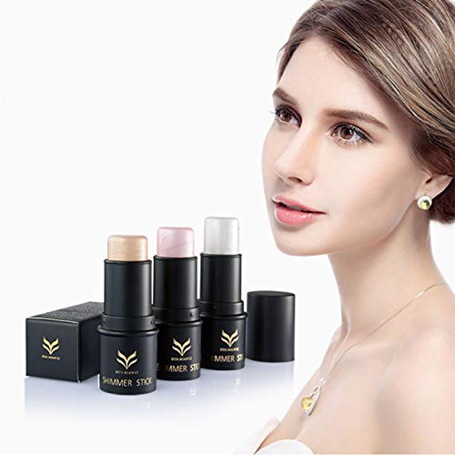 CCbeauty 3 Colors Illuminator Face Highlighter Makeup Sticks Whitening Cream Shimmer Stick Powder Foundation Stick (3Pcs Highlighter)