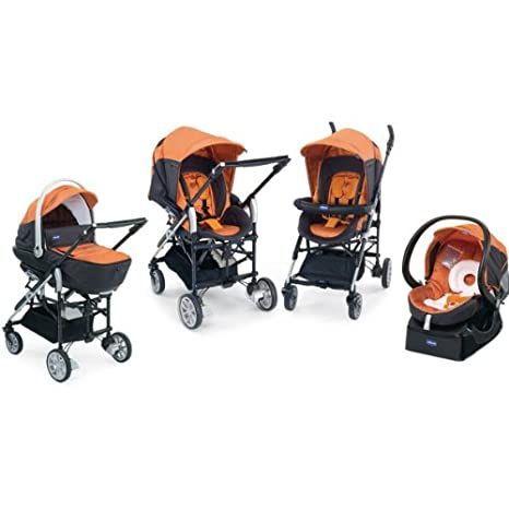 Chicco 4079123620000 Trio-Living - Carrito convertible (4 posiciones), color naranja y gris: Amazon.es: Bebé