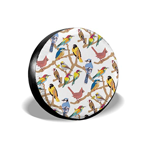 (Spare Tire Cover, Colorful Birds Pattern Printing Wheel Protectors PVC Waterproof Dustproof for Jeep Trailer SUV RV and Many Vehicles(14,15,16,17)