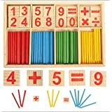 40PCS Wooden Number Sticks + 16PCS Bricks Blocks Mathematics Material Educational for Kid Child Maths Early Education Learning