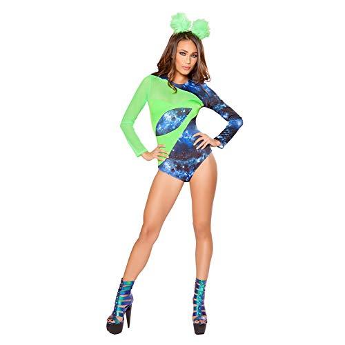 Roma Costume 2 Piece Women Sexy Roleplay Party Wear Alien Babe Green/Blue - Medium -